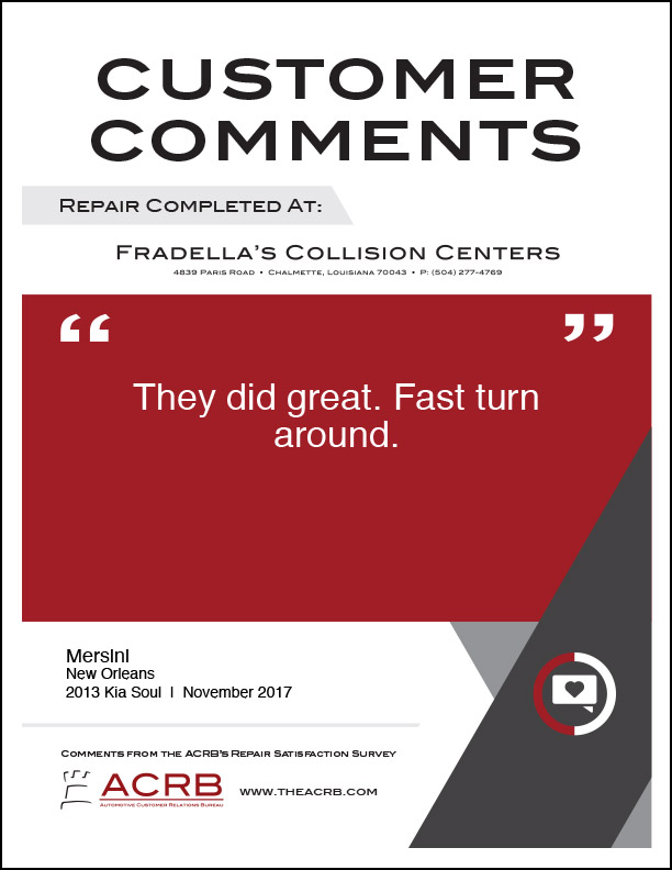 Fradellas Customer Comment 10 11-2017