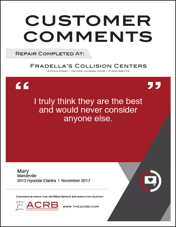 Fradellas Customer Comment 11 11-2017