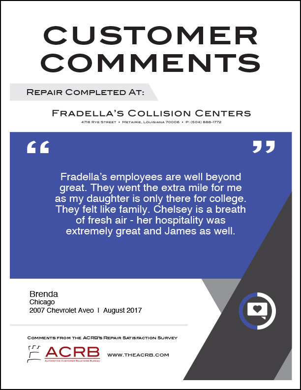 Fradellas Customer Comment 2 8-2017