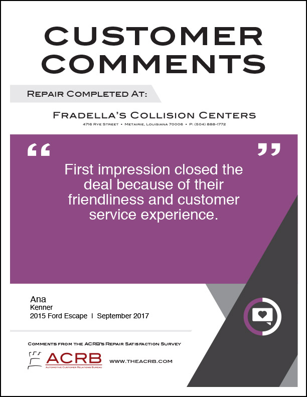Fradellas Customer Comment 9 9-2017