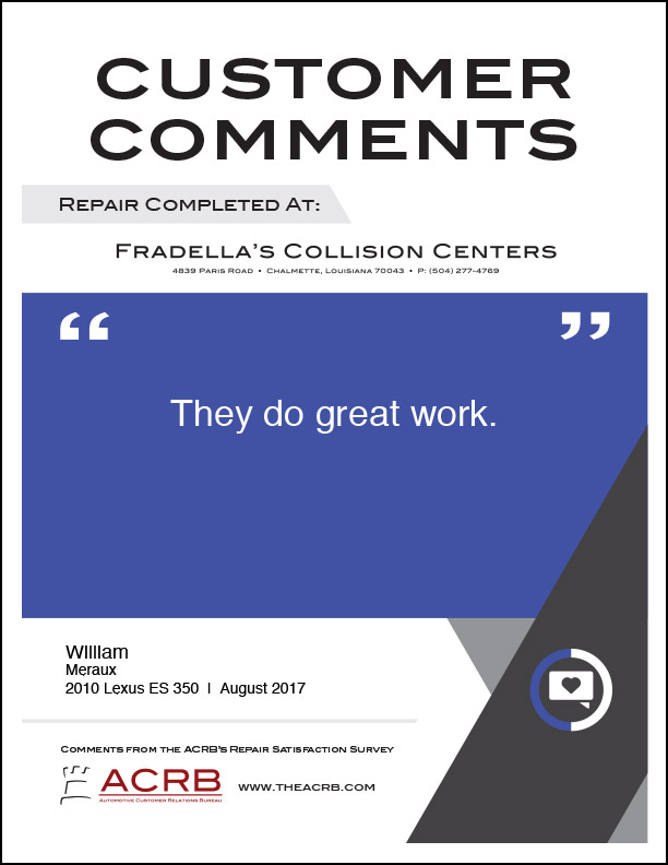 Fradellas Customer Comment 3 8-2017