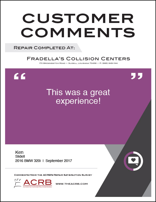 Fradellas Customer Comment 3 9-2017