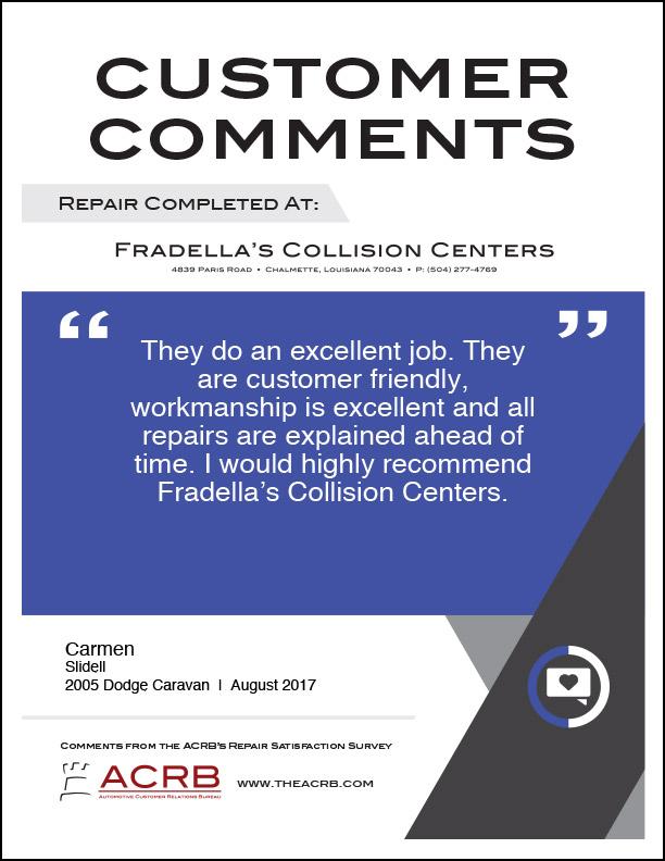 Fradellas Customer Comment 5 8-2017