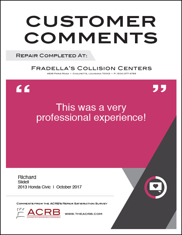 Fradellas Customer Comment 7 10-2017