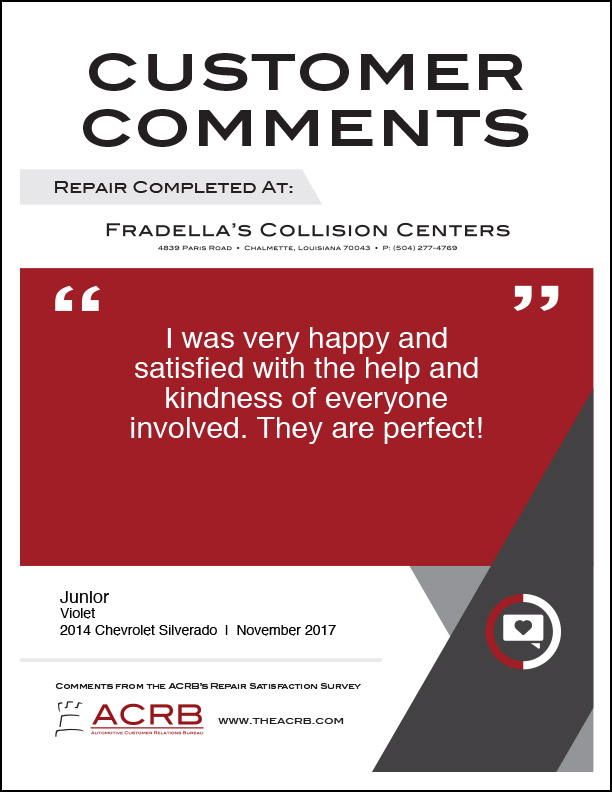 Fradellas Customer Comment 8 11-2017