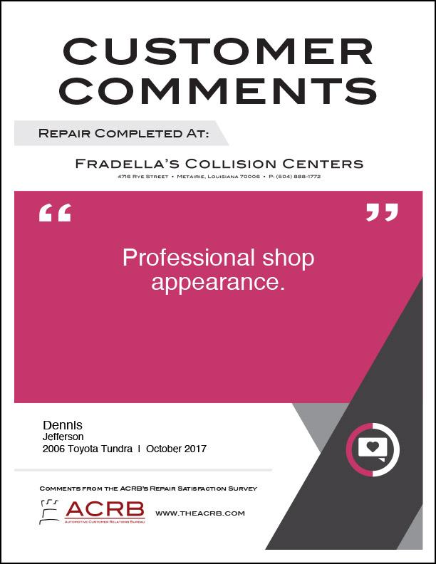 Fradellas Customer Comment 9 10-2017